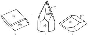 Смитсонит,  Габитус кристаллов родохрозита (а) и смитсонита (б, в)