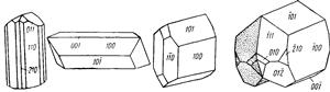 Одиночные кристаллы и двойник эпидота