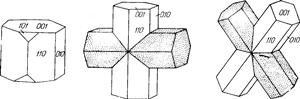Ставролит. Одиночный кристалл и двойники ставролита