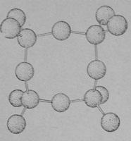 Группа из четырех кремнекислородных тетраэдров, связанных в кольцо