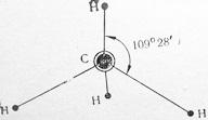 Схема строения молекулы метана с валютным углом 109°28'