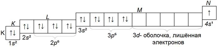 структура электронных слоев атома калия K