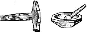 Молоток и агатовая ступка для измельчения минералов