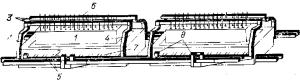 Схема ошиновки электролизеров ВТ с двухсторонним подводом тока к аноду
