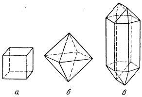 Формы кристаллов: поваренной соли; квасцов; селитры