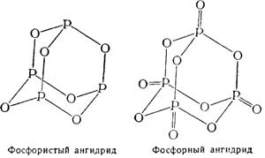 Строение молекул фосфористого и фосфорного ангидридов