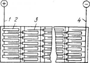 Схема электрической цепи для электролитического рафинирования меди