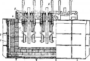 Магниевый электролизер с верхним вводом анодов