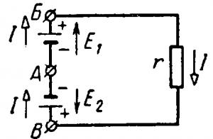 Электродвижущая сила и токи в цепи с двумя источниками питания при Ei > Е2