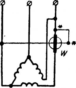 Схема измерения мощности в цепи трехфазного тока.