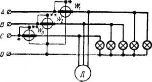 Схема соединения для измерения мощности в четырех проводной трехфазной цепи
