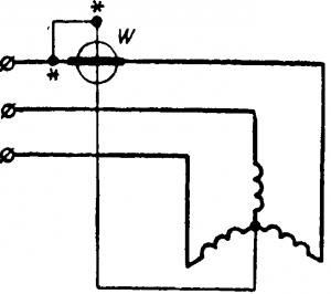 Схема соединения для измерения мощности двигателя при доступной нулевой точке