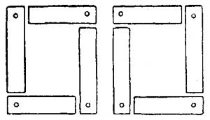 Расположение листов стали однофазного трансформатора при сборке