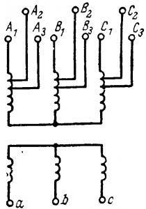 Расположение ответвлений на обмотке трансформатор