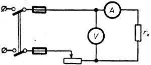 Схема соединения для измерений сопротивлений амперметром и вольтметром