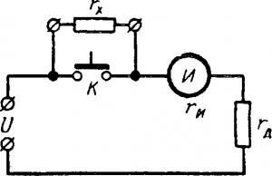 Последовательная схема омметра, показания которого зависят от напряжения источника питания
