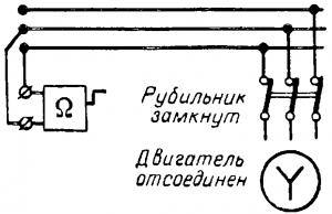 Схема для измерения сопротивления изоляции провода относительно земли