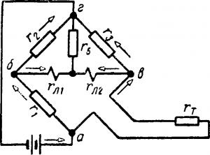 Схема моста с логометром термометра сопротивления