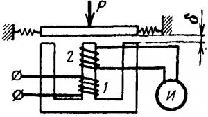 Схема индуктивного преобразователя-трансформатора