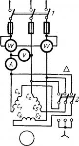 Схема пуска двигателя переключением статора с звезды на треугольник