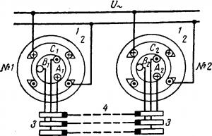 Схема сельсинов при отсутствии угла рассогласования