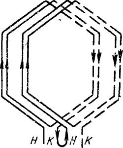 Соединение двух секций обмотки статора
