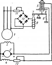 Схема автоматического регулирования напряжения генератора